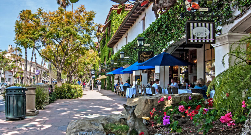 Santa Barbara, Shops on State Street in the city of Santa Barbara in southern California